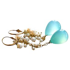 Bold Aqua Chalcedony-Waterfall of FW Pearls-Long Cascade Goldfill Leverback Earrings