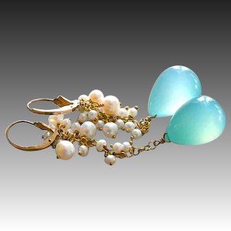 Bold Aqua Chalcedony-Waterfall of FW Pearls-Long Cascade Goldfill Leverback Earrings