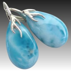 The Best Larimar-51.5ct-Sterling Silver Branch Leverback Earrings