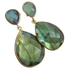 Flashy Labradorite-18k Gold Vermeil-2 Tier Sterling Silver Post Dangle Earrings