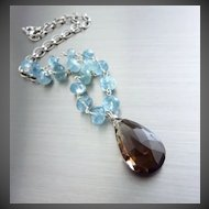 2in1~Moss Aquamarine~34.2ct Smokey Quartz Removable Pendant~Sterling Silver Necklace~