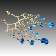 Ultimate Chandeliers~Genuine Swiss Blue Topaz~14k Solid Gold Earrings~
