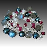 Ruby~Blue Fire Labradorite~Faceted Teal FW Pearls~Sterling Silver Charm Bracelet~