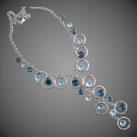 London Blue~Sky Blue Topaz~14k White Gold Hoops~Cascading Gems Necklace~