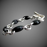Unique Black Onyx Marquise-Sterling Silver Contemporary Bracelet