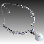 Astounding Solar Quartz Pendant-Rainbow Moonstone-White Topaz-Iolite-Mystic Labradorite-Multi Briolette Sterling Silver Necklace