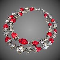 Bold-Bamboo Coral-Balinese Handmade Silver-2 Strand Necklace