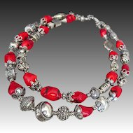 Bold-Bamboo Coral-Balinese Handmade Silver-2 Strand Necklace
