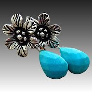 Tibetan Turquoise-Hill Tribe Sterling Silver Blossom Dangle Earrings