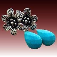 Tibetan Turquoise-Hill Tribe Sterling Silver Blossom Dangle Earrings