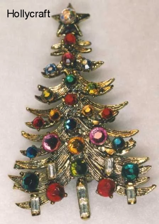 ab10eaff2 Vintage LOT 18 Rhinestone Christmas Tree Pins Trifari Kirks Folly · Hollycraft  Christmas Tree Pin