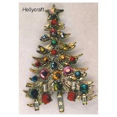 Vintage Rhinestone HOLLYCRAFT Rhinestone Christmas Tree Pin - Book Piece