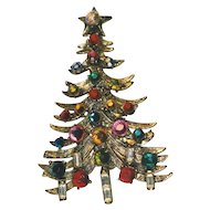 Vintage Rhinestone HOLLYCRAFT Rhinestone Christmas Tree Pin - Book Piece