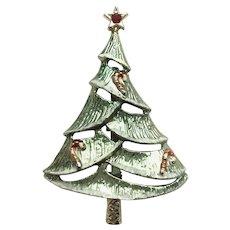 "Vintage Signed ""BJ"" Christmas Tree Pin - Book Piece"