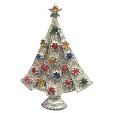 "Signed ""BEATRIX"" Vintage Rhinestone Christmas Tree Pin - Book Piece"