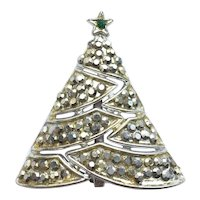 "Vintage ""BJ"" Rhinestone Christmas Tree Pin"