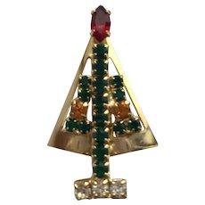 BEautiful Vintage Rhinestone Christmas Tree Pin - Book Piece -  Hobe (unmarked)