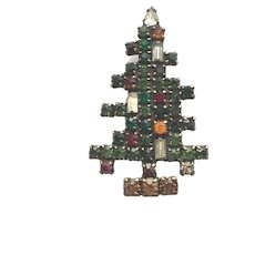 """Small Christmas Tree Pin of """"Weiss Trio"""" of RS Christmas Tree Pins - Book Piece"""