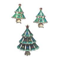 """Vintage Signed """"JJ"""" Christmas Tree Pin/ER Set - Book Piece"""