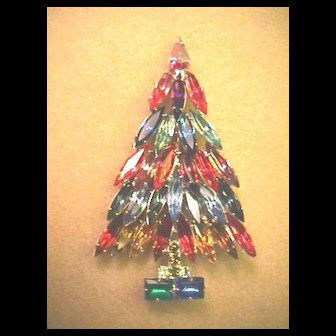 Signed KENNETH LANE Rhinestone Christmas Tree Pin - Book Piece