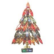 Signed KENNETH LANE Rhinestone Christmas Tree Pin - Book Piece