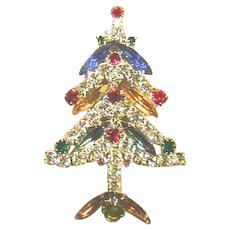 Signed KENNETH LANE Christmas Tree Pin - Book Piece