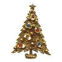 Vintage Signed ART RS Christmas Tree Pin