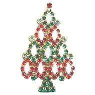 Sparkling Rhinestone KENNETH LANE Christmas Tree Pin - Book Piece