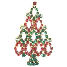 Sparkling Rhinestone KENNETH LANE Christmas Tree Pin - Book Piece