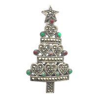 Beautiful Signed Marcasite/Sterling  Christmas Tree Pin - Book Piece