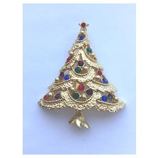 Beautiful Vintage Signed *JJ* Rhinestone Christmas Tree Pin - Book Piece