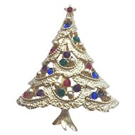 Beautiful Vintage Signed *JJ* Rhinestone Christmas Tree Pin - Book Piece