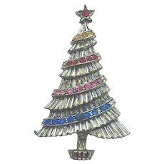 """Vintage Signed """"BJ"""" Rhinestone Christmas Tree Pin - Book Piece"""