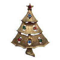 "Older Vintage Signed ""JJ"" RS Christmas Tree Pin - Book Piece"