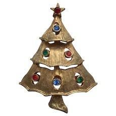 "Older Vintage Signed ""JJ"" RS Christmas Tree Pin - Book Piece"
