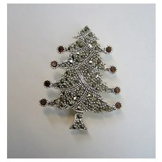 Beautiful Signed Sterling Silver/Marcasite Christmas Tree Pin