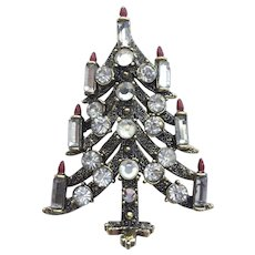 Sparkling Signed PAKULA Vintage Christmas Tree Pin