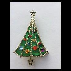 Beautiful Vintage Signed *BJ* Christmas Tree Pin - Book Piece
