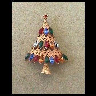 Vintage Signed *JJ* Rhinestone Christmas Tree Pin - Book Piece