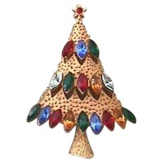 Vintage Signed *JJ* Rhinestone Christmas Tree Pin - Book Piece