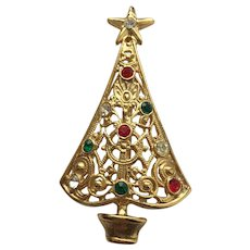 Beautiful Signed AVANTE Christmas Tree Pin - Book Piece