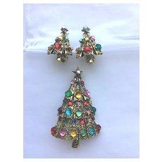 BEAUTIFUL Vintage Signed Hollycraft Christmas Tree Pin/ER Set - Book Piece