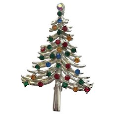 Sparkling Signed DODDS Rhinestone Christmas Tree Pin - Book Piece