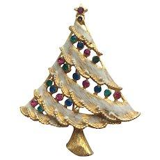 Signed Rhinestone Vintage Christmas Tree Pin
