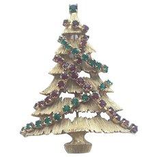 "Beautiful Vintage Signed ""JJ"" Rhinestone Christmas Tree Pin - Book Piece"