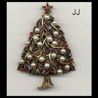 "WONDERFUL Vintage Signed ""JJ"" Christmas Tree Pin - Book Piece"