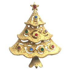 Older Signed JJ Christmas Tree Pin - Book Piece