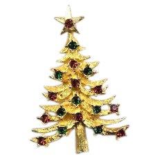 Beautiful Signed Vintage MYLU Christmas Tree Pin - Book Piece