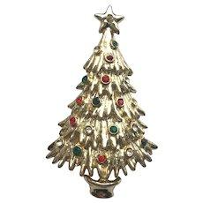 TANCER II Rhinestone Christmas Tree Pin - Book Piece