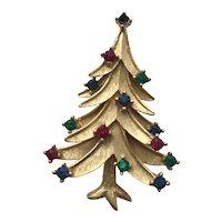Vintage Signed *TRIFARI* Rhinestone Christmas Tree Pin - Book Pieced